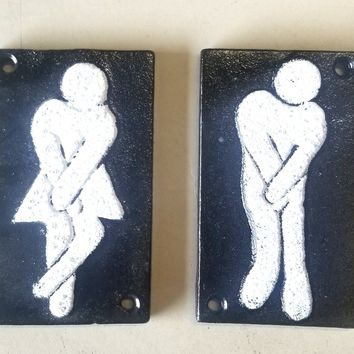 2pc Funny Cast Iron Bathroom Plaques Signs w/hardware primitive and vintage look