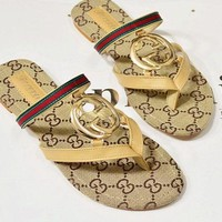 GUCCI Trending Slippers Women Casual Red Green Stripe Letter Print Flat Sandal Slipper Shoes Apricot