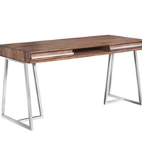 ALAN SMOKED BROWN ACACIA WOOD VENEER FRAME WITH POLISHED STAINLESS STEEL BASE DESK