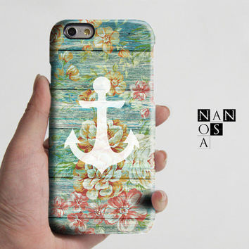 Vintage Anchor Wood Floral iPhone 6 Case,iPhone 6 Plus Case,iPhone 5s Case,iPhone 5C Case,4/4s,Samsung Galaxy S6 Edge/S6/S5/S4/S3 Note 2/3