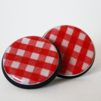 Metallic Pin-up Plaid Red and White 80s - 90s Round Medium Size Vintage Earrings