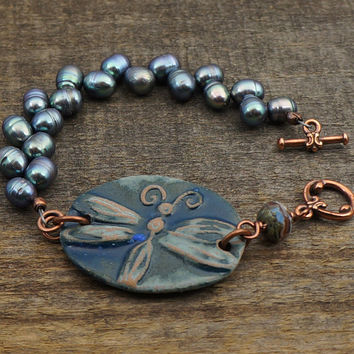 Blue dragonfly bracelet, pearl jewelry, copper tone, 7 1/4 inches