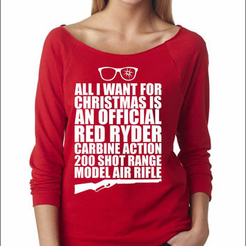 The Christmas Story Ladies Terry Off Shoulder Sweater, Cozy , Xmas List, The Terry Raw Edge 3/4-Sleeve Raglan Red Ryder