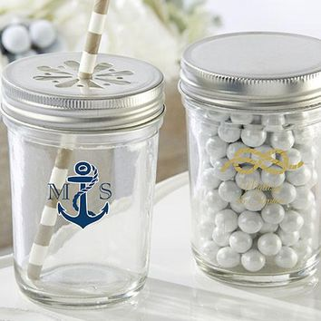Personalized Printed Glass Mason Jar - Kate'S Nautical Wedding Collection (Set Of 12)