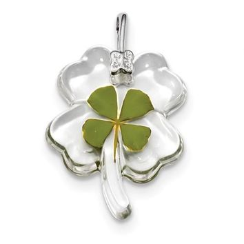 925 Sterling Silver Real Lucky Four Leaf Clover Necklace Charms