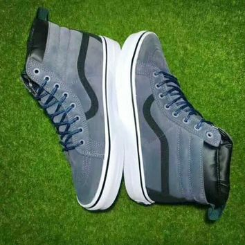 Vans Black Blue Ankle Boots Old Skool Canvas Flat Sneakers Sport Shoes G-CSXY-1