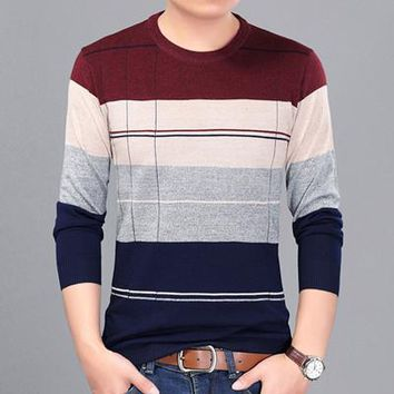 O-neck Slim Fit Striped Plus Size Sweater