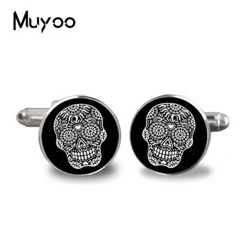 Sugar skull Cuff link Black White Skull Men's Shirt Accessory Fashion Jewelry Glass Cufflink Handmade