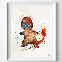 Charmander Print, Pokemon Watercolor, Pokemon Poster, Animation, Baby Room, Nursery Art, Giclee Wall Art, Fathers Day Gift