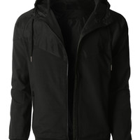 LE3NO Mens Lightweight Windbreaker Rain Zip Up Hoodie Jacket (CLEARANCE)