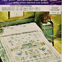 """Vintage Paragon Double Bed Quilt Top Kit w ALL Thread Included - Sz 81"""" x 97"""" Blue & Green American Sampler Design Quilting Sewing Supplies"""