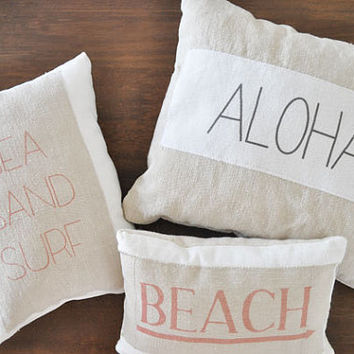 Beach Pillow - beach decor - surf pillow - nautical pillow - beach pillows - surf - aloha pillow - beach decor - beach house pillows, hawaii