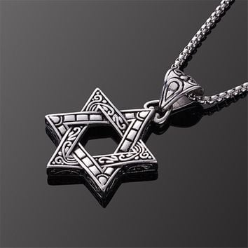2018 New Classic Hexagram Pendants Necklaces For Men Women Fashion Punk Stainless Steel Star of David Necklace Charm Jewelry