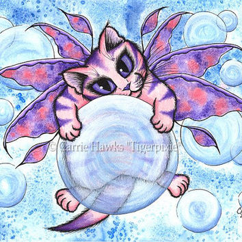 Fairy Cat Painting Bubble Fairy Cat Art Cute Pink Kitten Fantasy Big Eye Art Whimsical Cat Art Print 8x10 Cat Lovers Art
