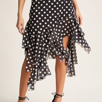 Polka Dot High-Low Skirt