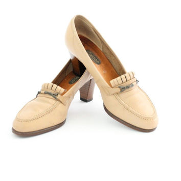 Women's Vintage Retro 70's Chic Gabor Loafer Wooden Heels Tan Leather Shoes UK 4.5 US 7