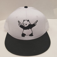 Shooting Panda Embroidered Trucker Mesh Snap Back One Size Fits All Flat Bill Hat Cap