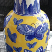 "Vibrant Blue and Yellow Butterflies 13"" tall Vase"