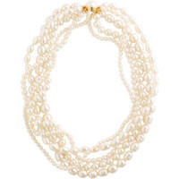 Freshwater and faux pearl multi strand necklace - Polyvore