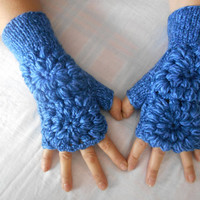 Blue-Navy Knitted Gloves, Pattern, Women's Gloves, Valentine's Day, Fingerless Gloves, Wrist Warmers, Mittens, Gloves Handmade, Gift Ideas