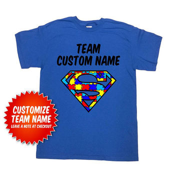 Autism Superhero Shirt Autism Awareness T Shirt Team TShirts Custom Name Personalized Gifts Puzzle Piece Autism Day Customized Tee - SA1049