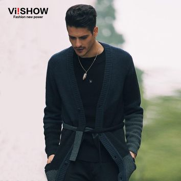 Viishow Fashion Mens Cardigan Sweater Long Sleeve Knitted Cardigan Solid Thin Slim Fit With Belt Decration Pull Homme