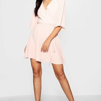 Ida Wrap Front Belted Wide Sleeve Dress | Boohoo