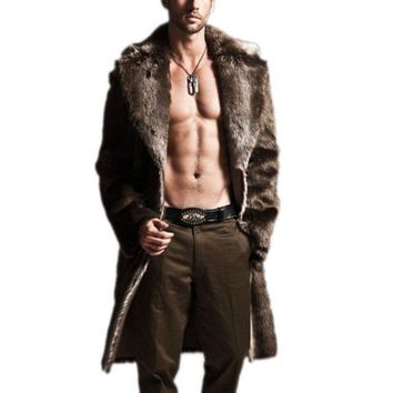 Mens Trench Coats Winter Fashion Fur Lapel Cool Long Coat Outwear 50% off