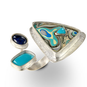 Bryn Open-Top Ring with Fordite