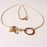 Gold plated orchid necklace, dainty gold orchid necklace, everyday necklace, modern gold plated necklace