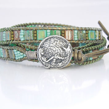 ONE Mermaid Wrap Bracelet Button Clasp, Artisan Sterling Silver Clasps