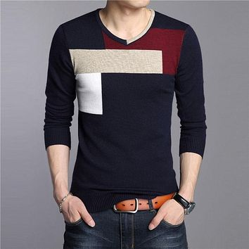 High Quality Autumn Winter Soft Warm Knitted Cashmere Sweater Men Christmas Sweaters Casual V-Neck Pullover Men Pull Homme