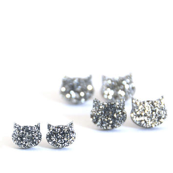 Cat Earrings · Silver Glitter Cat Earrings · 2 sizes