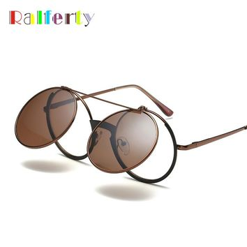 Ralferty Vintage Round Sunglasses Women Men Flip Up Eyeglasses Steampunk Brown Sun Glasses Retro Eyewear Circle Oculos F5827