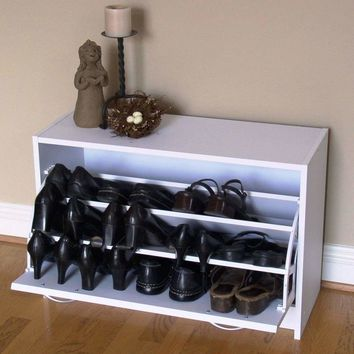 4D Concepts Single Smart White Deluxe Shoe Cabinet with Stylish Handles