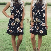 Napa Valley Floral Lace Dress ~ Navy