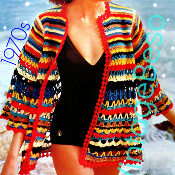 Jazzy Beach Wrap Crochet PATTERN Vintage Beach Cover Up 70s Beach Jacket Ladies Sexy Summer Wear Holiday Instant Download PDF Pattern