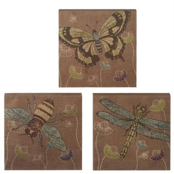 3 Wall Art - Dragonfly, Bee, And Butterfly
