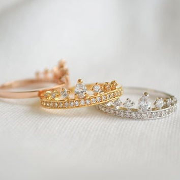 crown rings, cz crown ring,tiara rings,princess rings,simple ring,royal crown ring
