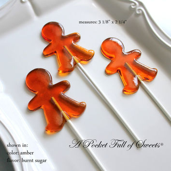 12 GINGERBREAD MAN Lollipops Barley Sugar Hard Candy Lollipops Favors Suckers Christmas Gift