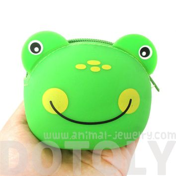 Green Froggy Frog Shaped Mimi Pochi Animal Friends Silicone Zipper Coin Purse Pouch