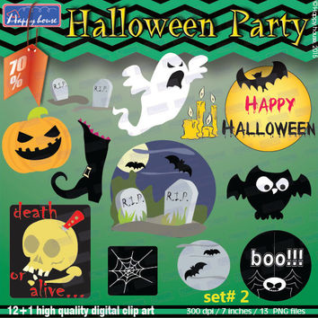 HALLOWEEN Clipart Pack Decorations,Halloween Digital Clipart,Halloween Printable,Halloween party,Halloween kids,Party Supplies,Scrapbook Kit