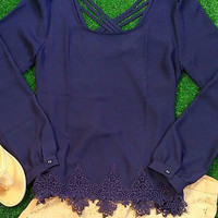 SUMMER VACAY CHIFFON TOP IN NAVY