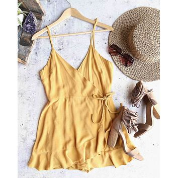 honey belle - soft rayon wrap romper - gold