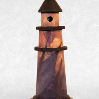 Wooden Lighthouse featuring Decoupaged Old World Pirate's Ship