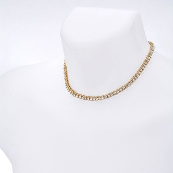 "Jewelry Kay style Men's Hip Hop Bling CZ Iced Out 4 mm Round Stone 16"" Tennis Chain Necklace"