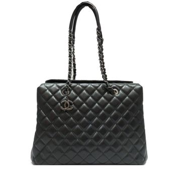Authetic CHANEL Chain Shoulder Tote Bag Quilted Caviar Leather Black