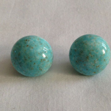 French Vintage Earrings Clip on Marble Mint Green