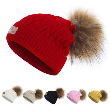 Child Knit Beanie Kids Winter Caps Fur Pom Poms Hats Children Faux Fur Beanies Wool Boys Girls Thick Skullies Knitted Pompom Hat