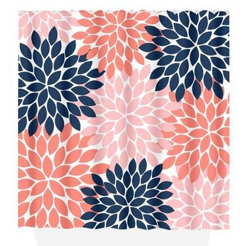 Flower SHOWER CURTAIN, Flower Bathroom, Navy Coral, Girl MONOGRAM Personalized, Floral Bathroom Decor, Bath Towel, Plush Bath Mat